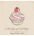 Mothers Day card with cupcake and wishes text vector image