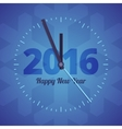 Happy New Year 2016 clock on a blue background vector image