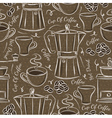Brown seamless patterns with coffee set vector image