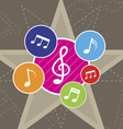 music on star background vector image