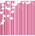 White magnolia branches on pink striped background vector image