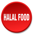 halal food red round flat isolated push button vector image
