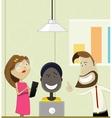 Creative cartoon people working in office vector image