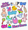 baby shower doodle with newborn toys vector image