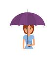 cartoon woman with umbrella icon vector image