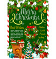 christmas greetings gifts and decorations vector image