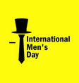 international mens day tie and hat on a yellow vector image