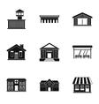 City public buildings icons set simple style vector image