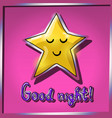 cartoon yellow smiling and sleeping star on pink vector image