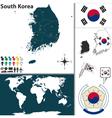 South Korea map world vector image vector image