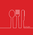 cutlery in red vector image