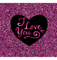 Abstract pink glittering background with heart vector image vector image