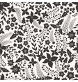 Monocrome seamless pattern with flowers vector image