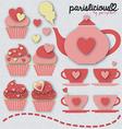 pinky tea set vector image