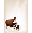 A Retro Grand Piano on Brown Stage Background vector image vector image