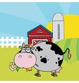 Cartoon cow on farm vector image
