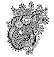 Hand draw black and white line art ornate flower vector image