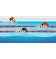 Swimmers racing in the pool vector image vector image