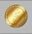 realistic 3d gold dollar coin isolated vector image
