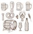set of beer glasses bottle and snack icons vector image