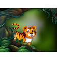 A rainforest with a tiger vector image vector image