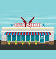 facade of gun shop flat vector image