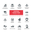 sporting goods store - modern simple icons vector image