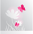 paper flower and red butterfly vector image vector image