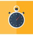 Blue stopwatch icon over orange vector image