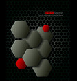 Dark gray hexagons technology background vector image vector image