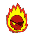 comic cartoon burning skull vector image