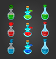 Set bottles with different potions-2 vector image