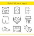Basketball linear icons set vector image