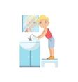 Boy Washing Hands In Bathroom Tap vector image