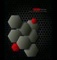 Dark gray hexagons technology background vector image