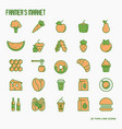 farmers market thin line icons set vector image
