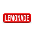 Lemonade red 3d square button isolated on white vector image