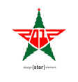 Merry Christmas star with green pine vector image