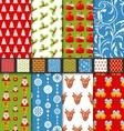 Set seamless christmas pattern santa stag toys vector image