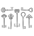 Vintage key set in engraving style vector image