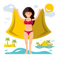 woman with pareo flat style colorful vector image
