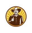 Cowboy Thumbs Up Sunburst Circle Woodcut vector image