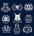 advocacy icons set for legal justice lawyer vector image