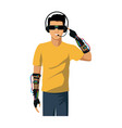 young man using vr virtual reality glasses headset vector image