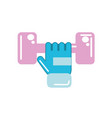 dumbel with glove to do exercise vector image