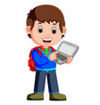 cartoon guy with tablet and notebook vector image