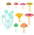 Isolated cartoon mushrooms on white vector image