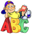 boy with abc vector image