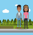 couple man and woman yard fence trees vector image