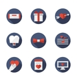 Flat blue round love relationships icons vector image